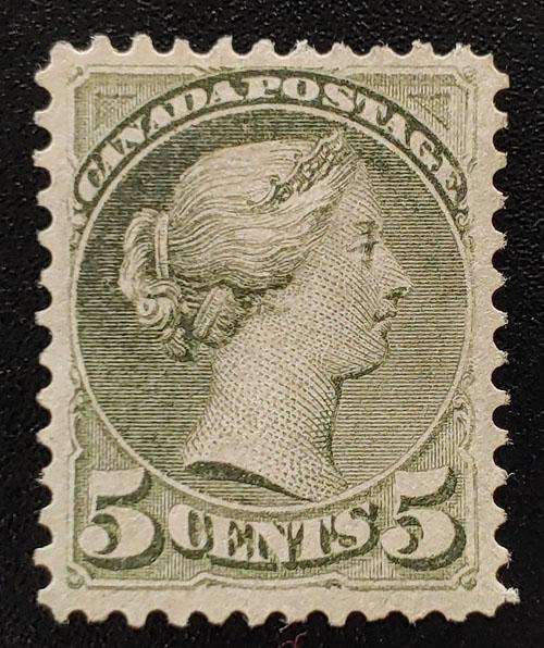 Canada #38 VF Unused 5c Slate Green Small Queen shade $1000