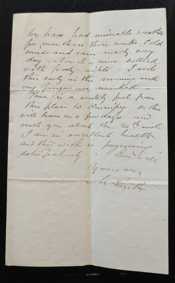 Rapid City, N.W.T. 7 Sep 1880 Marcus Smith letter to his wife