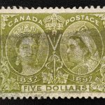 Canada #65 F/VF smudge Used 1897 $5 Jubilee