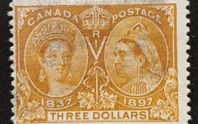 Canada #63 Fine smudge Used 1897 $3 Jubilee, perf cc