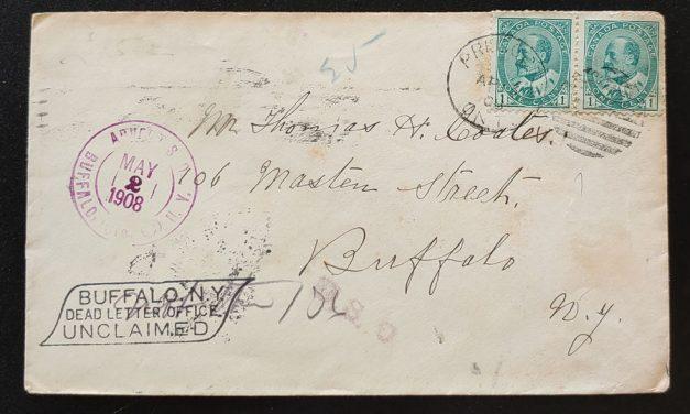 Canada #89 13 Apr 1908 2c U.S. and Cda dual Dead Letter