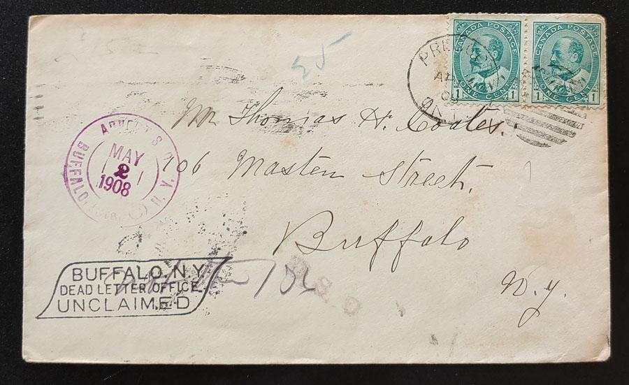 Canada #89 13 Apr 1908 2c U.S. & Cda dual Dead Letter