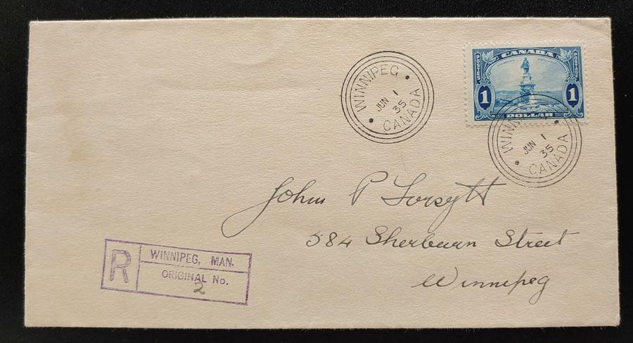 Canada #227 1 Jun 1935 $1 Champlain Registered Winnipeg FDC