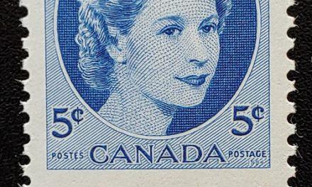 Canada #341 Never Hinged 1954 5c Wilding Dramatic Misperf