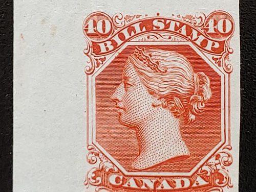 Canada #FB31 VF 1865 4c Orange Colour Trial Proof, creasing