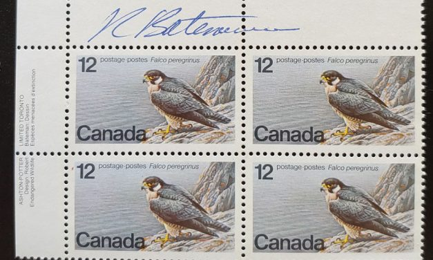 Canada #752 VFNH UL 1978 12c Robert Bateman signed Block (4)