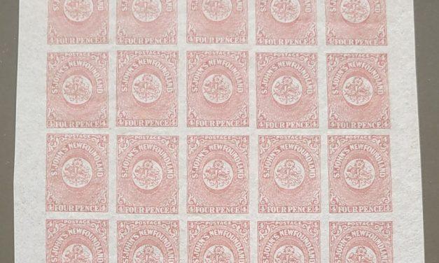 Newfoundland #18 VF Mint 1861/62 4d Block incl 14 NH (20)