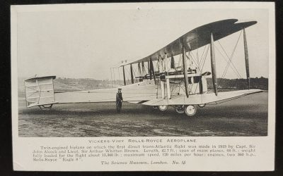 Alcock & Brown's Unused Vickers-Vimy Biplane Postcard