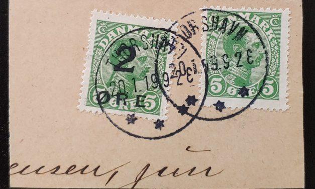 Faroe Islands #1 Fine 29 Jan 1919 CDS Used on piece w/ Denmark