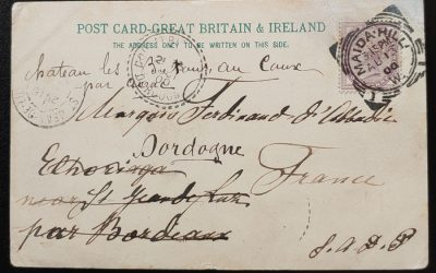 G.B. 13 Au 1900 1d Maida Hill Sq. Circ. Readdressed Black Watch Card