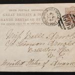 B.P.O. Beyrout 21 Sep 1881 1d Postal Card to U.S. via London