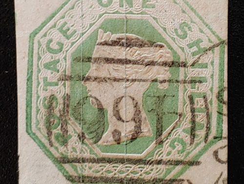 G.B. #5 Fine Used 1847 1/- embossed shade