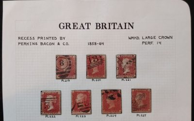 G.B. #33 Used 1858/64 1d Red Plates 219-225 (7 diff)