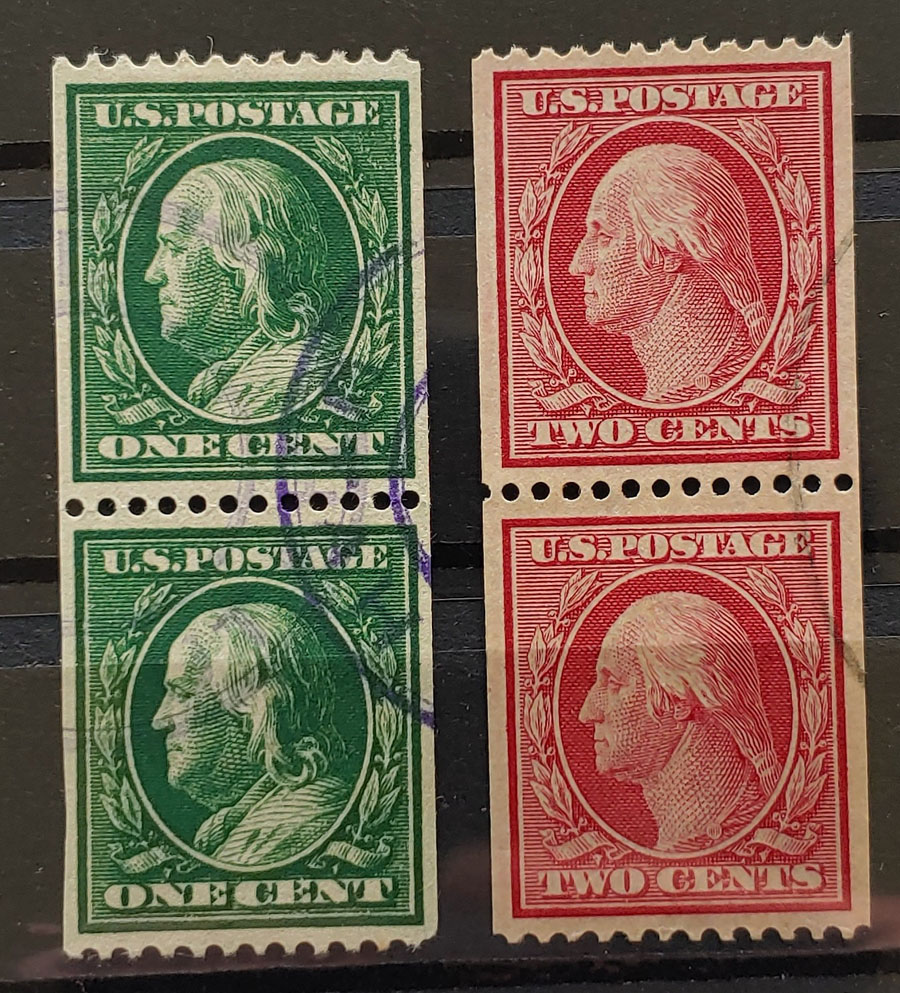 U.S.A. #348-9 VF Used 1908/10 Coil Pair duo US$560 (4)