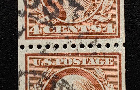 U.S.A. #350 F/VF Used 1910 4c Orange Brown Coil Pair