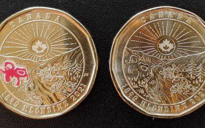 Canada BU 2021 Klondike Aureate Dollar duo, one w/ colour
