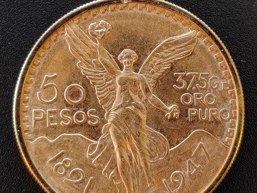 Mexico BU 1947 Gold 50 Pesos w/ gold bezel 1.1979oz+ AGW