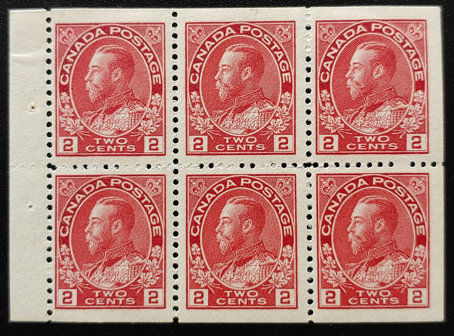 Canada #106a F/VF 4 Never Hinged 2c Booklet Pane, ex Goodhelpsen