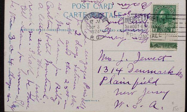 Cda #107LW 3 Sp 1924 2c Lathework Postcard to N.J. ex Goodhelpsen