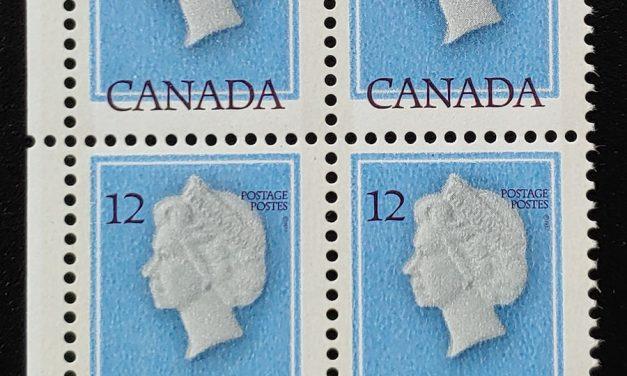 Canada #713 Never Hinged 1977 12c QEII LL Shift Block (4)