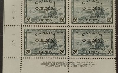Canada #O8a VFNH 1949 Missing Period After S in LL PL 1 Blk