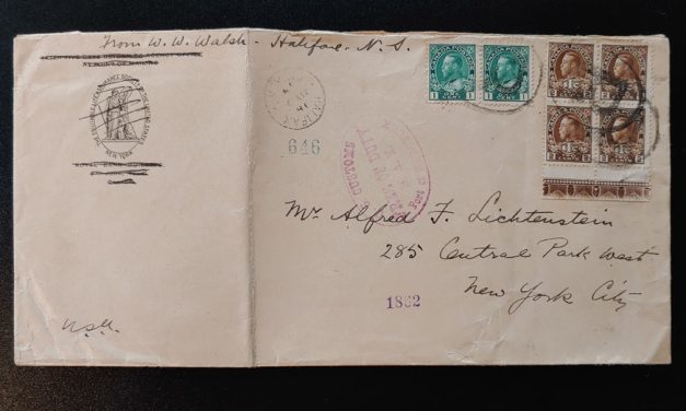 Cda #MR4LW 2 May 1917 Registered Halifax/N.Y. Cover ex Lichtenstein
