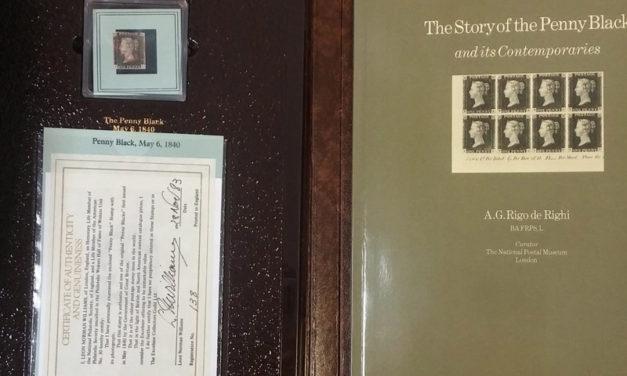 Great Britain Used Penny Black in souvenir folder with handbook