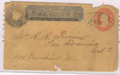 Customs Vancouver's Island Seal 1858 Wells Fargo Cover to SFR