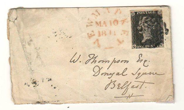 G.B. #1 10 Mar 1841 Newmarket/Belfast W. Thompson small Cover