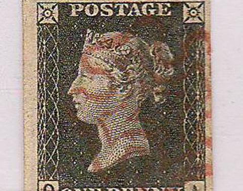 G.B. #1 1840 1d Black w/ Red Maltese Cross & Double Q