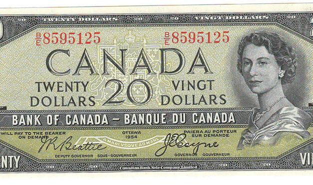 Bank of Canada #BC33b 1954 prefix B/E Devil's Face $20