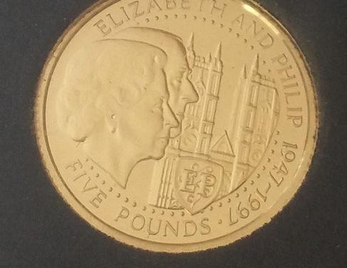 Guernsey Proof 1997 1/25oz Gold Royal Anniversary 5 Pounds .0354oz