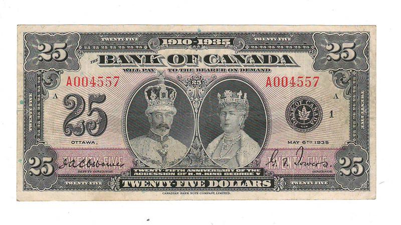 Bank of Canada Fine+ 1935 Commemorative $25 Banknote