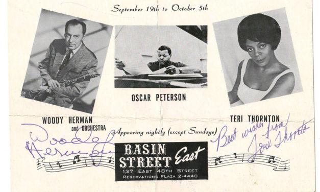 Nat King Cole, Woody Herman, Teri Thornton signed Basin St. E. flier