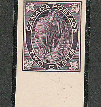 Canada #68P XF 1897 2c bottom Wing Margin Imperforate Plate Proof