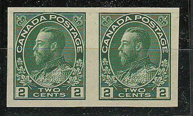 Canada #137var VFNH 1924 2c Hairlines Variety Imperf Pair