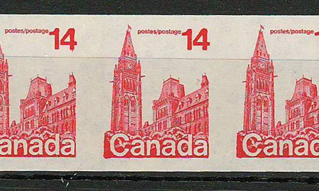 Canada #730a 1978 14c Parliament Imperf Coil Strip (3)