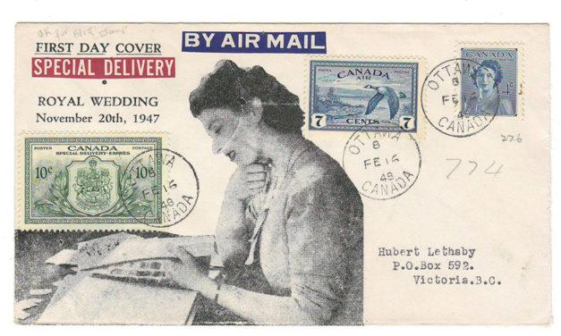 Canada #276, C9, E11 cacheted 16 Feb 1948 Ottawa FDC to B.C