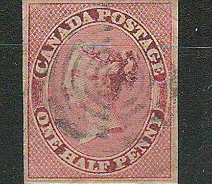 Canada #8i VF Used 1857 1/2d Lilac Rose Shade
