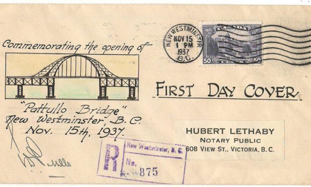 Pattullo Bridge Opening 15 Nov 1937 50c cacheted, Signed Cover